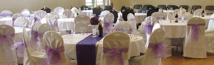 Purple and White Table and Chair Set Up