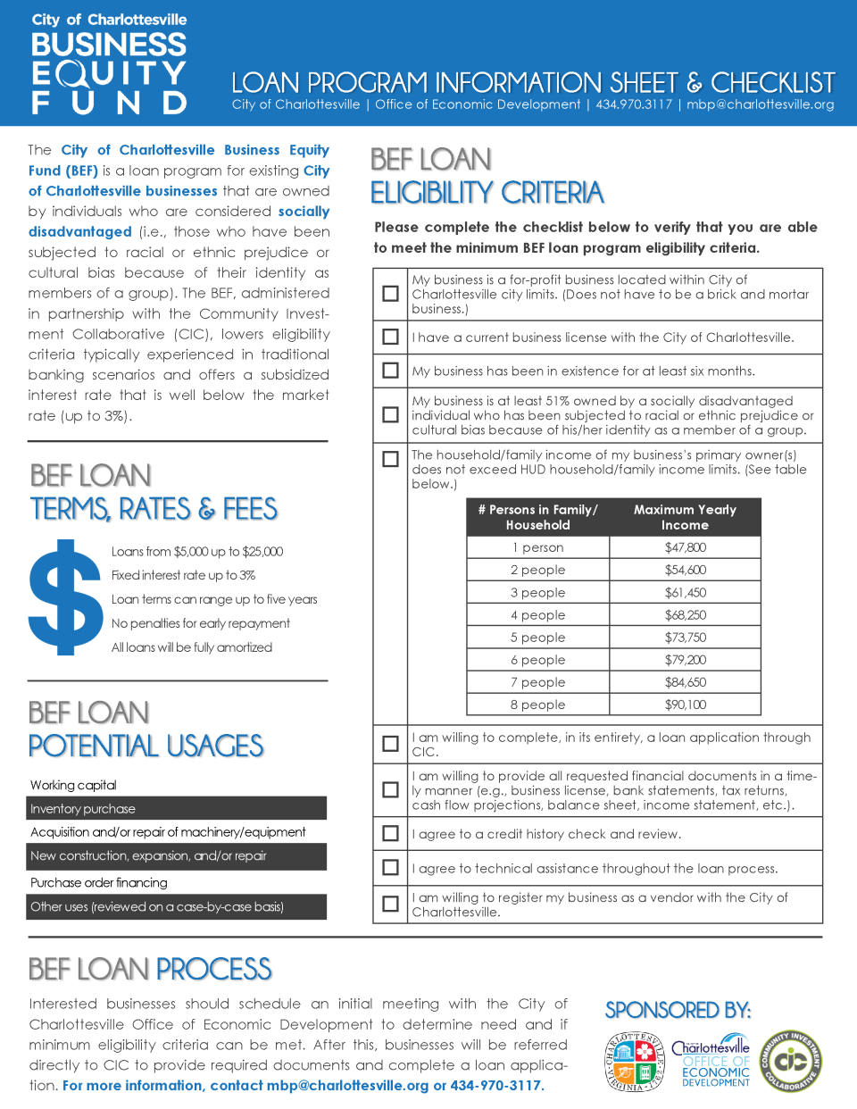 City of Charlottesville Business Equity Fund Loan Program Sheet and Checklist (PDF)