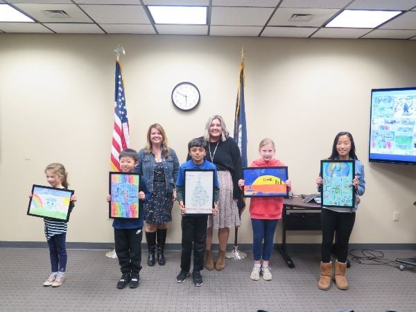 2019 Imagine a Day without Art Contest Student and Teacher Winners with their art
