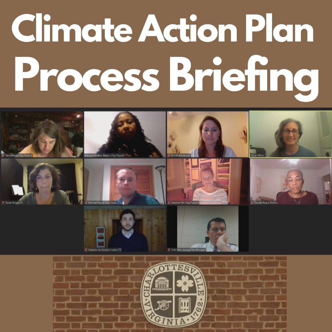 "Image of virtual City Council Meeting, City logo, and text ""Climate Action Plan Process Briefing&"