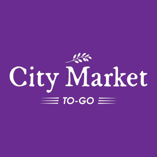 Purple background with the City Market to go logo in the middle in white