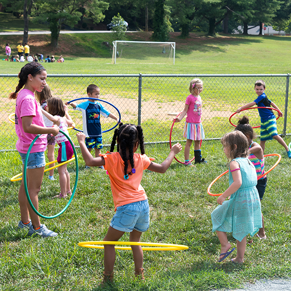 children playing during summer camp session