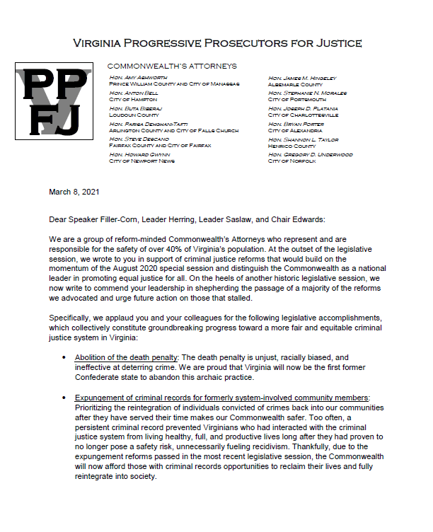Virginia Progressive Prosecutors for Justice letter, 3/8/2021, page 1